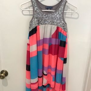Truly me high low sequin striped dress